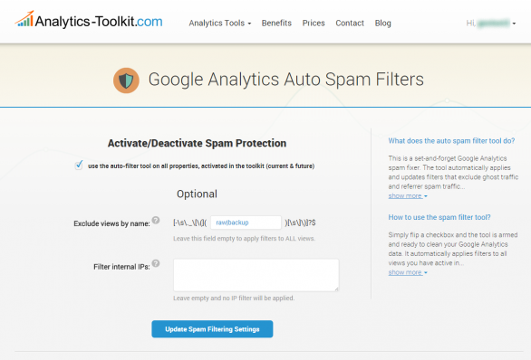 Google Analytics Referral Spam Filter Tool